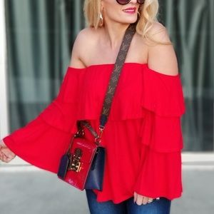 OFF SHOULDER RED TOP BY JOY HAN